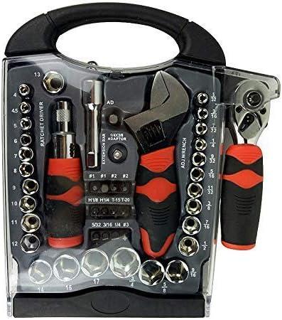 ドライバーセット、45ピース1/4および3/8ドライブスタビーハンドツールセットソケットレンチドライバー自動修理ハンドコンボツールキーセット