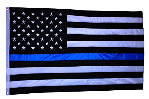 Cheap EMBROIDERED STAR, Double Side Print, Thick and Beautiful Thin Blue Line American Flag – 3 By 5 Ft – Honoring Our Men and Woman Serving in Law Enforcement