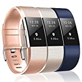 HUMENN Bands Compatible with Fitbit Charge 2, 3 Pack Classic & Special Edition Replacement Bands for Fitbit Charge 2, Large/Small