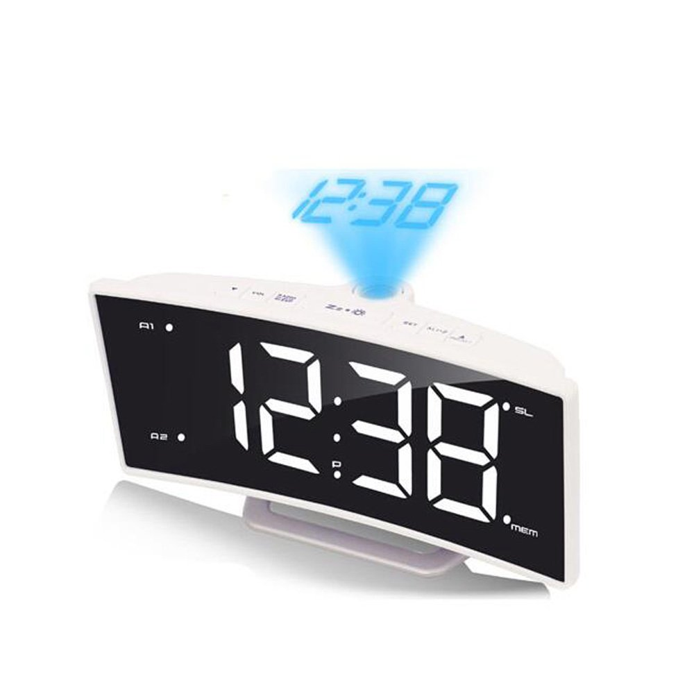 LambTown Led Projection Alarm Clock with FM Radio USB Charge Port - White