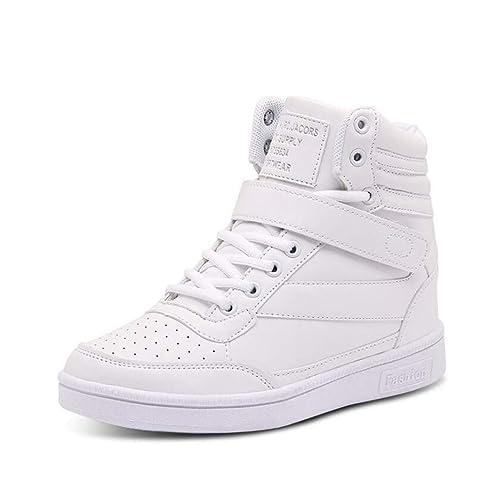 mogeek Zapatillas de Cuña para Mujer Zapatillas de Deporte Zapatillas Altas Plataforma Sneakers (Blanco,