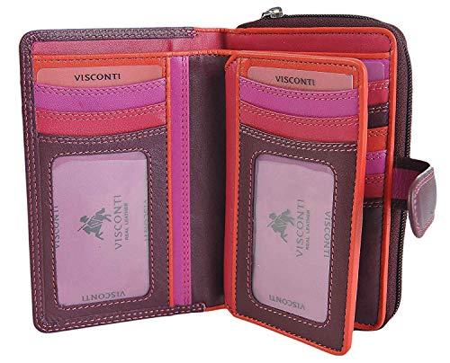 Visconti Cuero Mujer Plum Rojo Monedero Rosa en Caja Regalo R-13