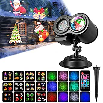 Water Wave Light,Christmas Light Projector, Led 2 in 1 Ripple Ocean Light with 12 Slides Patterns, Waterproof Outdoor/Indoor Landscape Decoration for Christmas, Thanksgiving, Birthday Party