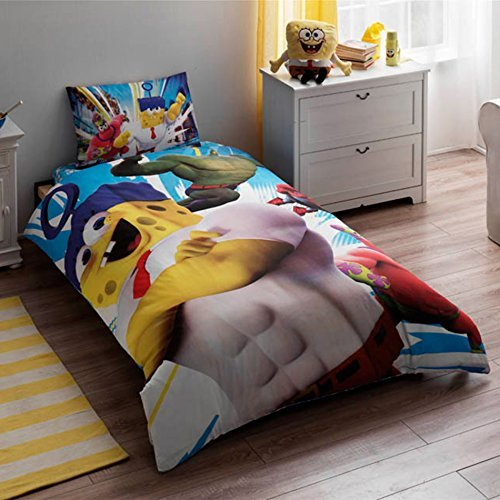 Original Licensed SpongeBob Movie Duvet Cover Set, 100% Cotton, Single / Twin Size, 3 Pieces