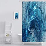 Teal Shower Curtain Shower Curtain abstract colour backdrop on white background Art Print Polyester Fabric Bathroom Decor Sets with Hooks 72 x 72 Inches, Blue