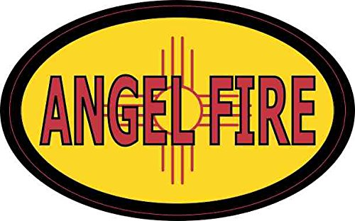 Angels Car Flag (StickerTalk 4in x 2.5in Oval New Mexico Flag Angel Fire Sticker)