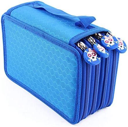 Yosoo Oxford Mehrschicht Stiftemappe für 72 Buntstifte Make-up Pinsel Tasche Pencil Organizer Pen Tasche stationäre Stiftetasche mit großer Kapazität (Blau)