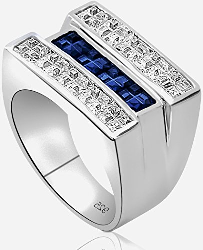 Men's Sterling Silver .925 Triple Row Ring Featuring White and Blue Invisible Channel Set Cubic Zirconia (CZ) Stones, Platinum Plated. By Sterling Manufacturers (Mens White Gold Pinky Ring)