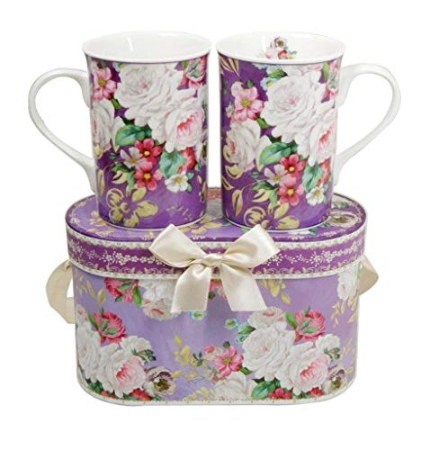 Lightahead Elegant Bone China Two Mugs set in Romantic Roses Design 11.2 oz each cup in attractive gift box (Fine Bone China Mug)