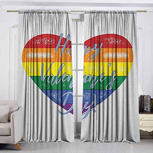 VIVIDX Print Window Curtain,Vintage Rainbow,Happy Valentine`s Day Quote on Distressed Colorful Heart Gay Couples LGBTI,Insulated with Curtains for Bedroom,W55x45L Inches Multicolor -