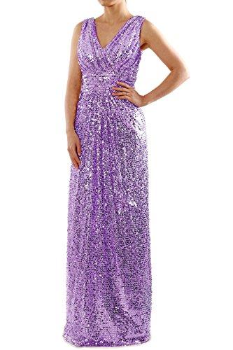 MACloth Damen Festlich Lange Pailletten-Kleid Kleider Kleid der Brautjungfer Lavanda