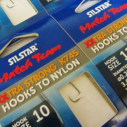 Silstar Match Team K74S Angelhaken ohne Widerhaken an Nylon 24 St/ück extra breit 4 Packungen /à 6 St/ück