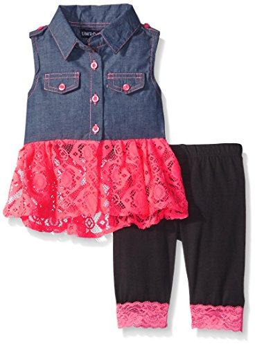 Limited Too Baby Girls' Lace and Chambery Top and Lace Trim Capri Legging Set, Neon Coral, 12 Months