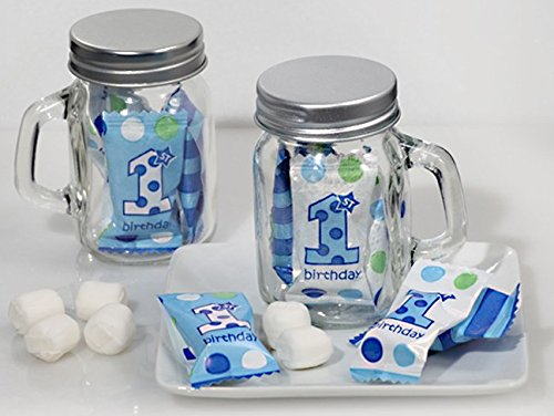 Mint Candy Favors with Mason Jar Boys First Birthday Design