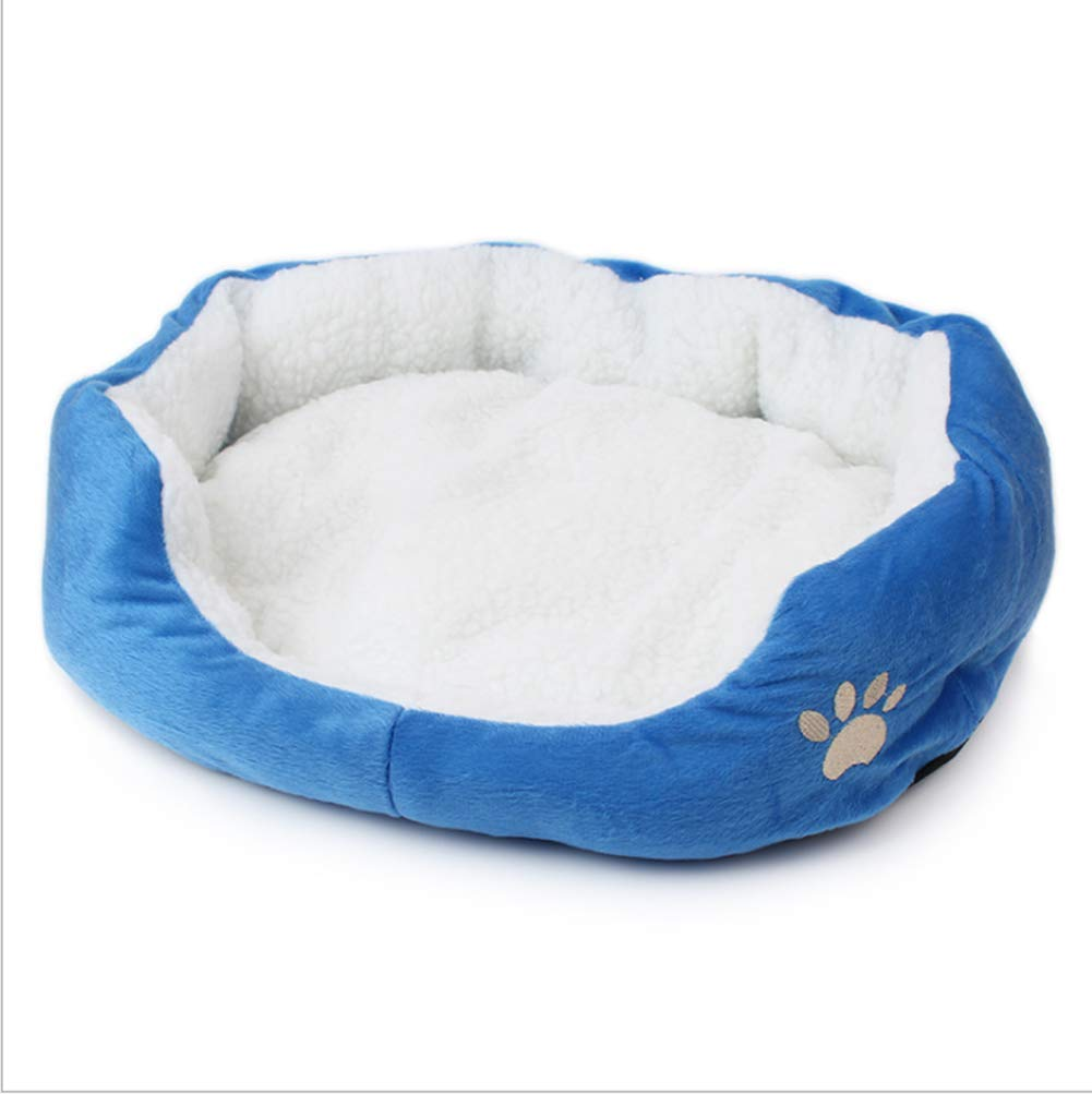 Pet Mat Autumn and Winter Warm Removable Washable Cotton Kennel for Cats and Dogs Cotton,bluee