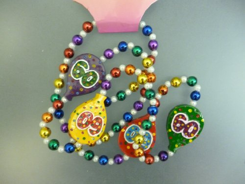 Pack of 10 - 60th Birthday Party Decoration - 60th Birthday Gifts - Age 60 Beaded Necklace]()