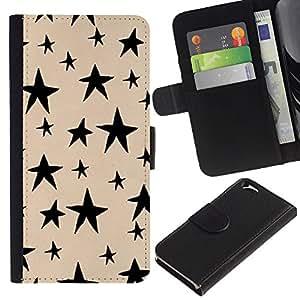 KLONGSHOP // Tirón de la caja Cartera de cuero con ranuras para tarjetas - Hand Drawn Beige Noche Negro - Apple Iphone 6 //
