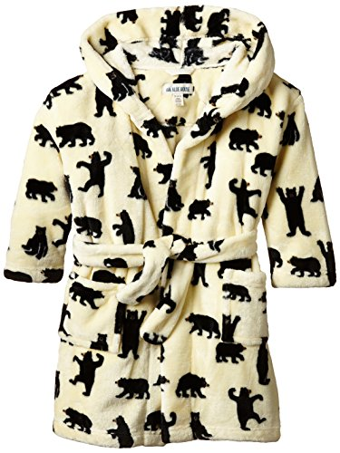 Little Blue House By Hatley Little Boys Fleece Robe - Black Bears On Natural,Black Bears On Natural, Medium