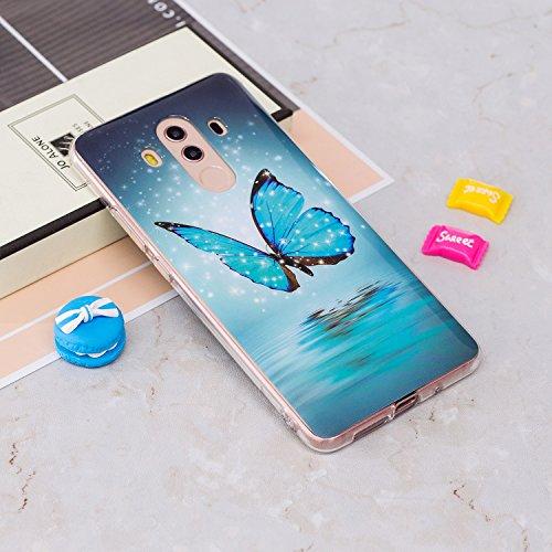 Funda Huawei Mate 10 Pro, CaseLover Noctilucent Luminous TPU Silicona Carcasa Huawei Mate 10 Pro Ultra Delgado Suave Fluorescente Brillo Nocturno En la Oscuridad Protectora Caso Flexible Tapa Caja Mariposa azul
