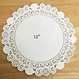 PEPPERLONELY 50 PC White Round Greaseproof Paper Doilies, 12 Inch