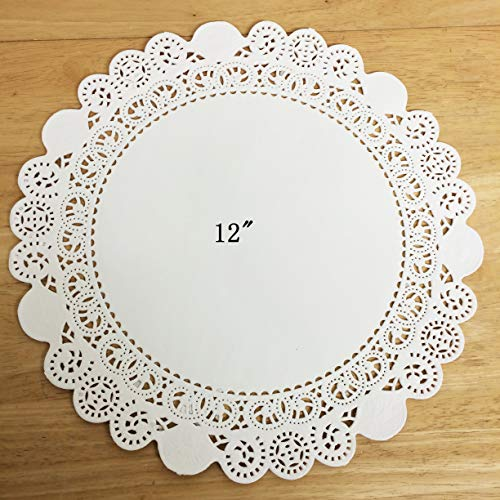 PEPPERLONELY 50 PC White Round Greaseproof Paper Doilies, 12 Inch by PEPPERLONELY