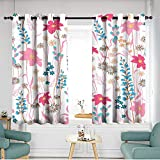 Thermal Insulated Blackout Curtains W 55'xL 63' Seamless Pattern wind blow flowers Isolated on whhite color Botanical Floral Decoration Texture Vintage Style Design for Fabric Print Wallpaper Backgro