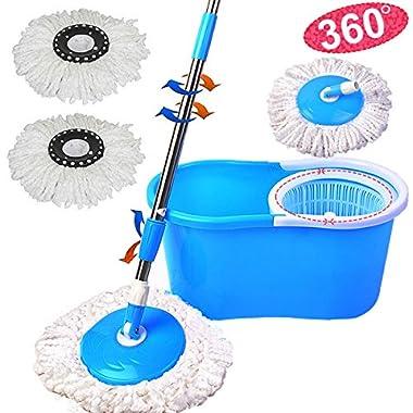 Goplus® 360° Easy Clean Floor Mop Bucket 2 Heads Microfiber Spin Rotating Head Blue