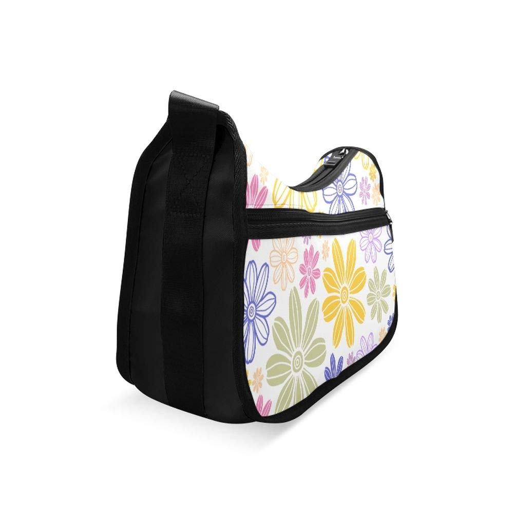 Beautiful Colorful Flowers Hand Drawn Messenger Bag Crossbody Bag Large Durable Shoulder School Or Business Bag Oxford Fabric For Mens Womens