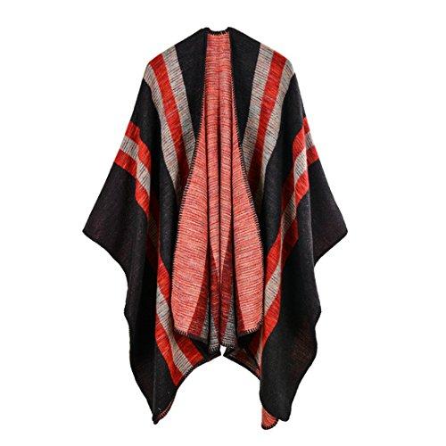 Gwell Femme Ponchos Capes Large Echarpe Châle Hiver Motif Rayé Rouge 130 x 150 cm