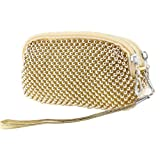 Lady Metal Beads 2 Compartment Zipped Nylon Lined Purse Hand Bag Pouch w Strap, Bags Central