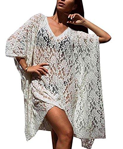 Floreale Beige Escote Unica V Pizzo L Beachwear per Donna Taglia Tunica Peach Parei Spiaggia Copribikini Coverups RwtqWTU