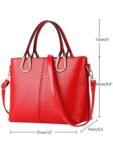 CUKKE Damen PU Handtaschen Damen Handtasche Schwarz Handtasche Schule Damen Handtaschen Rose Rot