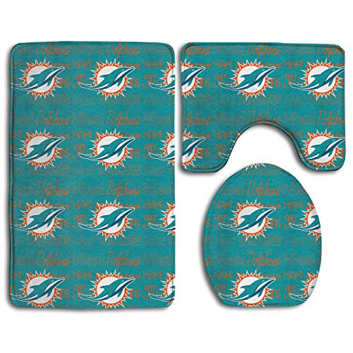 - Weckim Miami Dolphins Anti-Skid Lock Water Quick-Dry Bathroom Anti-Skid Three-Piece Set