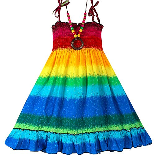 (Girls Bohemian Dresses Floral Sleeveless Rainbow Beach Sundress with)