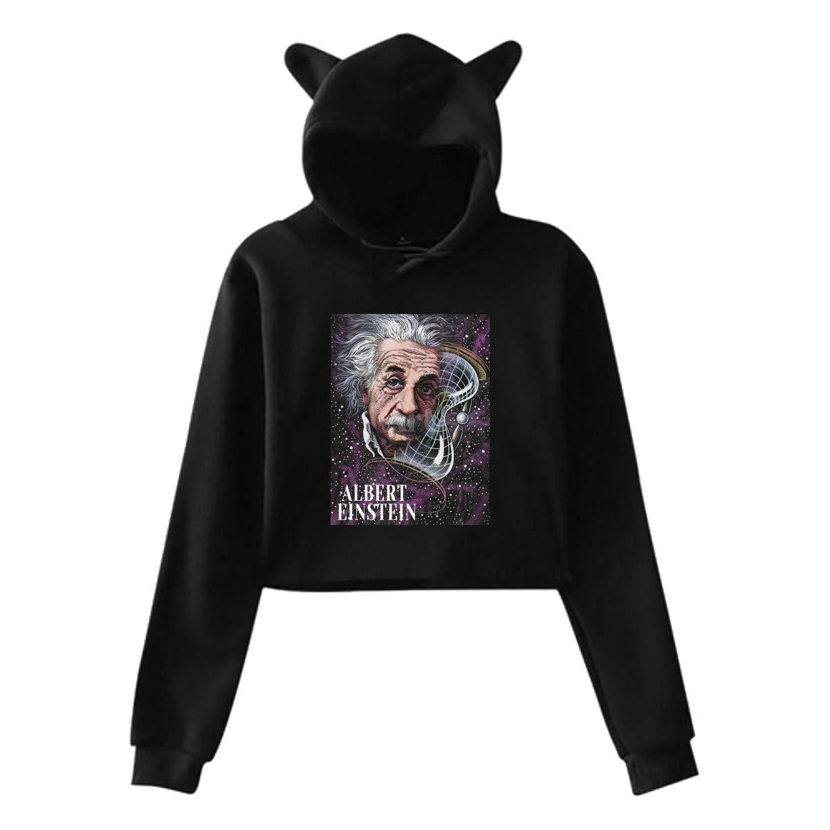 Albert EinsteinWomens Long Sleeve Cute Cat Ear Pullover Hoodie