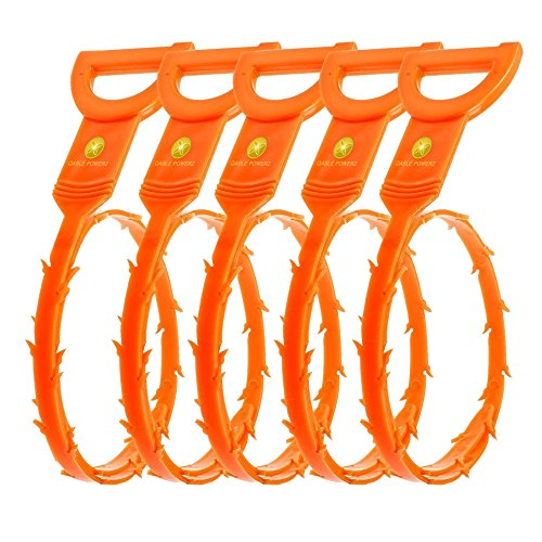 5 PACK 52CM Long Industrial Quality Snake Hair Drain Clog Remover Drain Relief Cleaning Tool Unclog Drain Sink Tub Hair Remover (Orange)