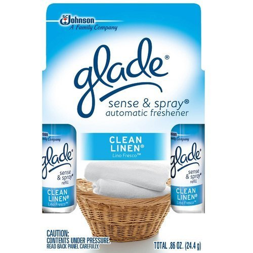 Glade Sense & Spray Clean Linen Refill Twin, 0.86 Oz (Pack of 5 )