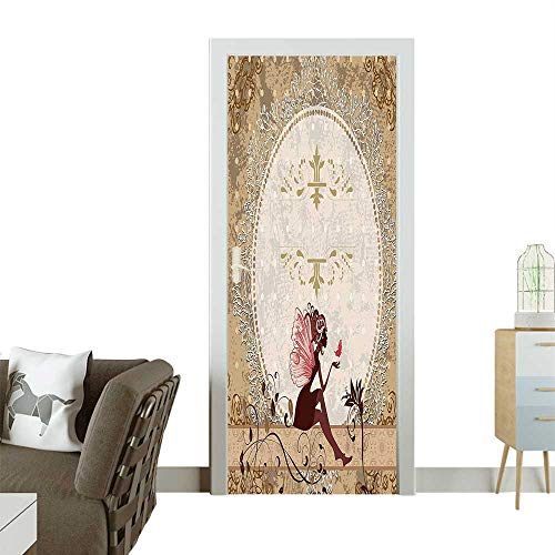 Door Sticker Wall Decals Pixie Sitting Lace Petals Shabby Chic Print Tan Beige Maro Easy to Peel and StickW31 x H79 INCH