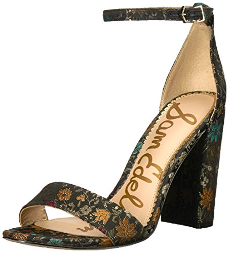 Sam Edelman Women's Yaro Heeled Sandal, Black Multi Floral Brocade, 11 Medium US