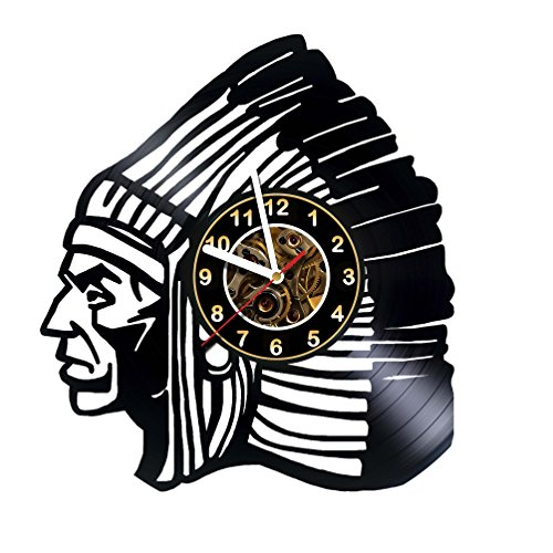 Indian - Native Americans - Wall Clock Made Of Vinyl Record - Handmade - Unique Design - Great gifts idea for birthday, wedding, anniversary, women, men, friends, girlfriend boyfriend and teens (Wedding Gift Ideas For Best Friend Female Indian)