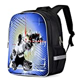 Fashion Elementary Student School Bags- Colored Drawing Ice Hockey Print - Durable School Backpacks Outdoor Daypack Travel Packback for Kids Boys Girls