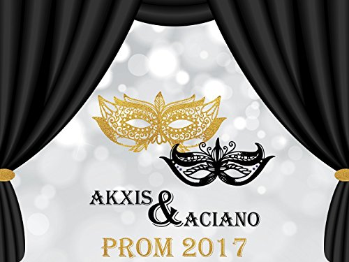 Custom Masquerade Prom Night Poster, Prom Night Party Banner, masquerade mask Banner, Gold and Black Wall Decor Birthday Banner Party Decoration- sizes 36x24, 48x24, 48x36 Personalised party ()