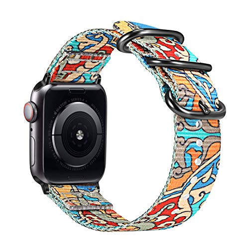 Fintie Replacement Band Compatible with Apple Watch 38mm 40mm, Lightweight Breathable Woven Nylon Sport Loop Wrist Strap Compatible with Apple Watch Series 4 Series 3 Series 2 Series 1, Color-A (Knitting With 2 Colors At A Time)