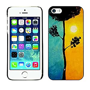 For Apple iPhone 5 / iPhone 5S Case , Blue Tree Meaning Sun Painting - Diseño Patrón Teléfono Caso Cubierta Case Bumper Duro Protección Case Cover Funda