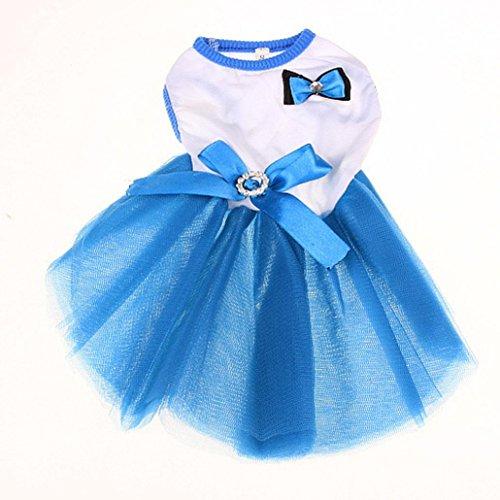 FAPIZI Lovely Puppy Dog Princess Dress Dog Camisole Gauze Skirt Pet Dog Bubble Dress (M, Blue) (Dresses For Dogs)