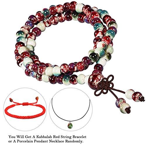 CAT EYE JEWELS 108 Prayer Beads Bracelet Porcelain Buddhist Vintage Style Mala Beads Bracelet Necklace Mix Color (Bead Mix Jewel)