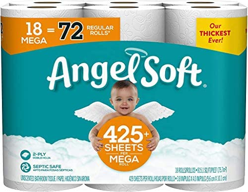 Angel Soft Toilet Paper, 72 Regular Rolls, 18 Count