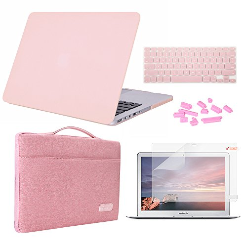iCasso MacBook Pro 13 Retina Case Bundle 5 in 1, Hard Shell, Sleeve, Screen Protector, Keyboard Cover & Dust Plug Compatible MacBook Retina 13 inch Model A1425/A1502 (Release 2012-2015) -Rose Quartz