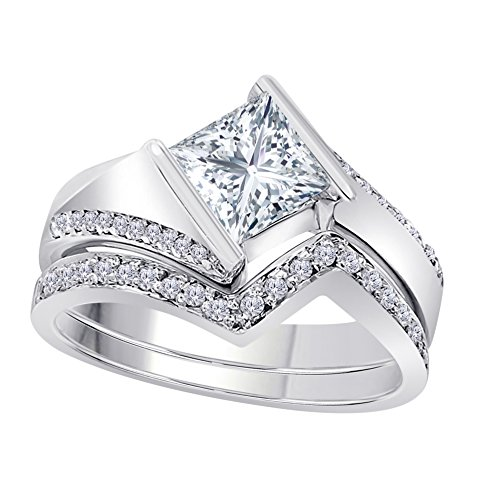 Silver Gems Factory 1.50 Ct Princess & Round Cut White CZ Diamond 14k White Gold Plated Alloy Half Bezel Vintage Design Wedding Engagement Ring Bridal Sets Free Size 4.5-12 (Gold Cz Rings)