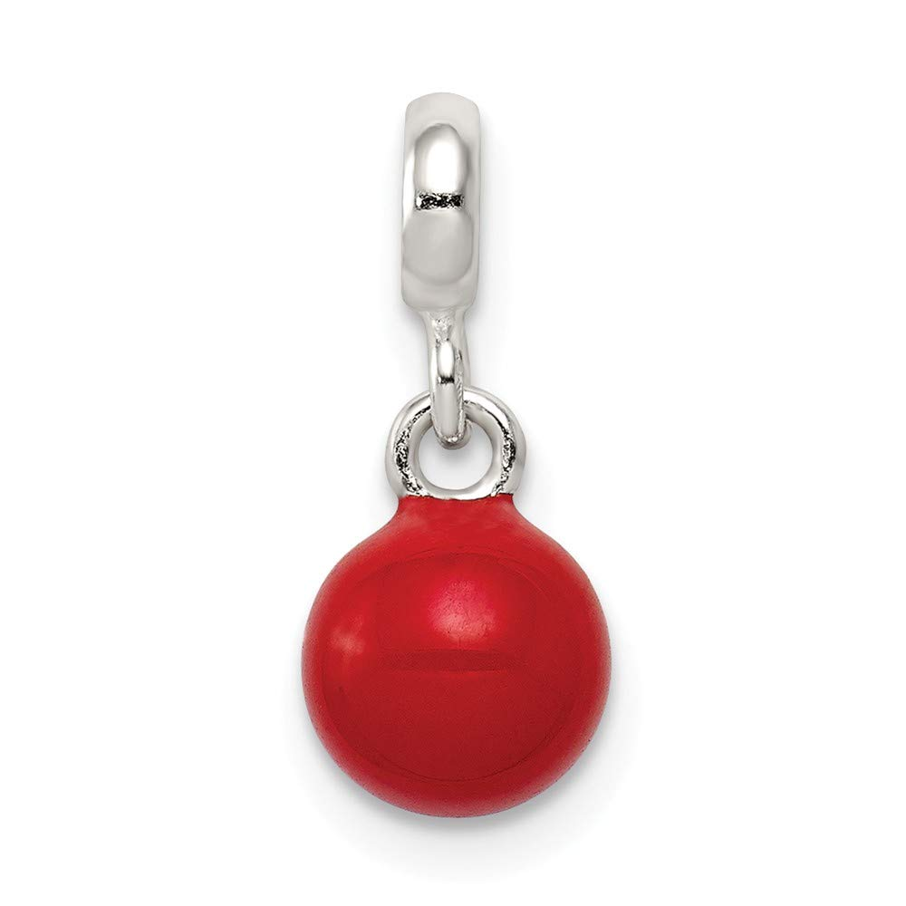 Sterling Silver Red Enameled Bead Enhancer